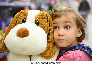 소녀, 장난감, 부드러운 물건