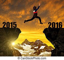 소녀, 점프, 에, 그만큼, 새해, 2016