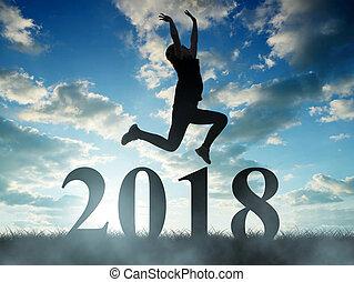 소녀, 점프, 에, 그만큼, 새해, 2018.