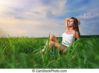 소녀, 즐기, 여름