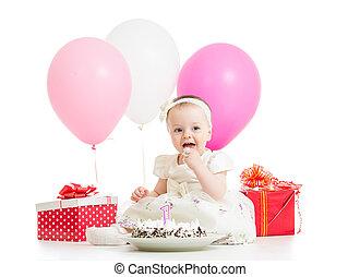 소녀, 케이크, 아기, 생일, 먹다, 미소, 처음