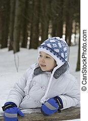 소녀, 통하고 있는, 겨울