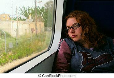 소녀, 통하고 있는, 기차