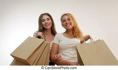 소녀, 후에, 쇼핑, paperbags, 행복하다