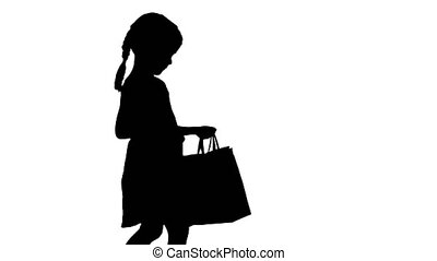 소녀, bags., 의복, 실루엣, 걷기, 거의, 검정, 아름다운, 쇼핑