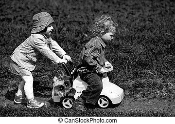 소년과 소녀, park에게서, 와, 장난감 차