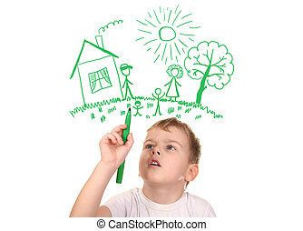 소년, 그의 것, 가족, felt-tip, 콜라주, 펜, 그림