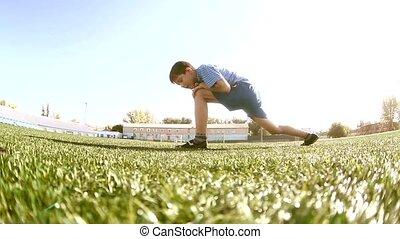 소년, 노는 것, 에서, a, 경기장, a, 건강한, lifestyle., 10대의 소년, 함,...
