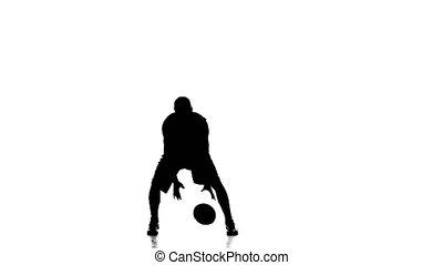 소년, 농구 선수, skillfully, 손잡이, 그만큼, ball., silhouette., 백색 배경