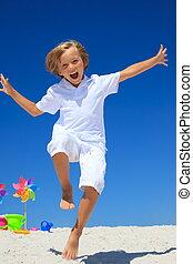 소년 달리기, 통하고 있는, 바닷가