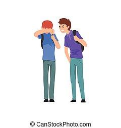 소년, 비웃는 것, 그의 것, 동급생, 충돌, 사이의, 아이들, 조롱, 와..., 괴롭히는 것, 에, 학교,...