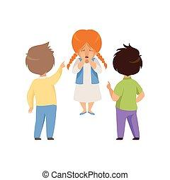 소년, 비웃는 것, 와..., 손으로 가리키는 것, a, 외치는, 소녀, 나쁜 행동, 충돌, 사이의, 키드...
