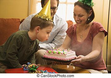 소년, 생일, cake.