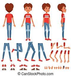 소년, 성격, 창조, 세트, 귀여운, 소년, 건설자, 와, 다른, 은 자세를 취한다, 몸짓, 구두, 벡터, 삽화