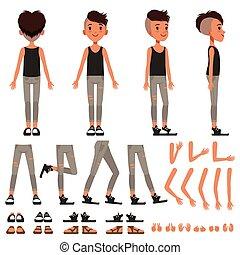 소년, 성격, 창조, 세트, 학생, 소년, 건설자, 와, 다른, 은 자세를 취한다, 몸짓, 구두, 벡터, 삽화