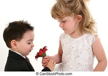 소년, 소녀, 꽃, 귀여운