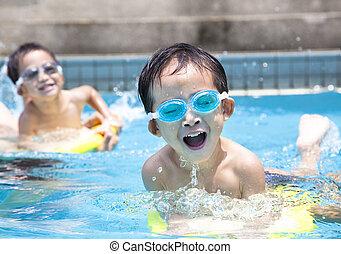 소년, 아시아 사람, 웅덩이, 수영