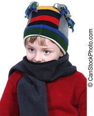 소년, 에서, 겨울, 옷차림새