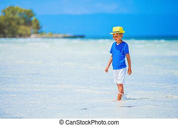 소년, 에서, 모자, 바다, 바닷가