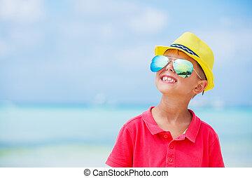소년, 에서, 안경, 와..., 모자, 바다, 바닷가