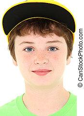 소년, 에서, 황색, 모자