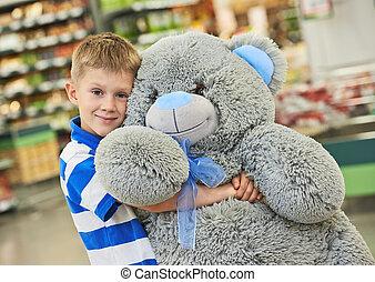 소년, 와, 곰, 장난감