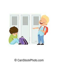 소년, 웃음, 와..., 손으로 가리키는 것, 또 하나의, 소년, 그리고 그 사람은, 은 이다, 바닥에 앉아...