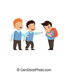 소년, 웃음, 와..., 손으로 가리키는 것, 슬픈, 소년, 나쁜 행동, 충돌, 사이의, 키드 구두, 조롱,...