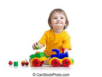 소년, 유아, 노는 것, 와, 장난감
