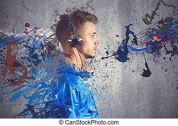 소년, 음악을 듣는 것