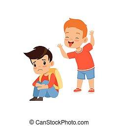 소년 착석, 바닥에, 동급생, 비웃는 것, 그, 나쁜 행동, 충돌, 사이의, 키드 구두, 조롱, 와...,...