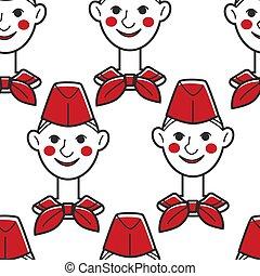 소년, 패턴, 모자, seamless, 개척자, 소련 사회주의 연방 공화국, neckerchief, 빨강