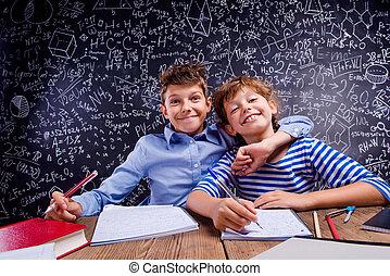 소년, 학교, 칠판, 책상, 크게, 소녀