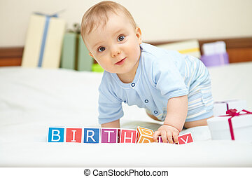 소년, concept., bed., 생일, 아기, 초상