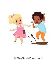 소년, dirtying, 그만큼, 소녀, 와, 비열, 나쁜 행동, 충돌, 사이의, 키드 구두, 조롱,...
