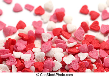 소량, 다채로운, 산발적인, 설탕, 배경, 백색