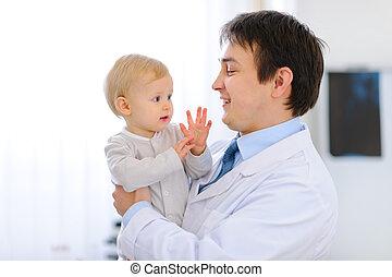 소아과 의사, 손, 초상, 아기