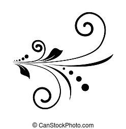 소용돌이, 꽃의, 모양, retro