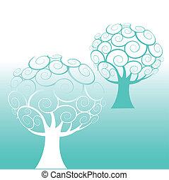 소용돌이, 나무, 배경