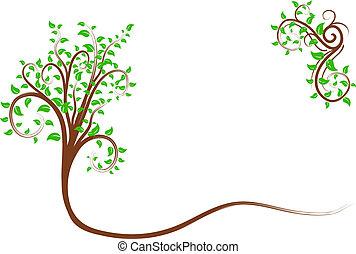 소용돌이, 나무.