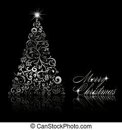 소용돌이, 성분, eps10, 나무, 삽화, 배경., 벡터, 검정, 꽃의, 크리스마스