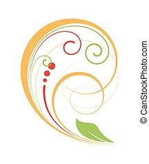 소용돌이, 포도 수확, 화려한, 디자인 요소