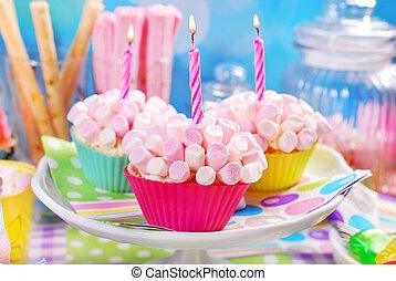소형의 것, 생일, 컵케이크, 마시맬로, 파티