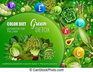 소화, 색, 음식, 녹색, 규정식, detox, 건강한