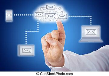손가락, 만지는 것, 전자 우편, 구름, 에서, 보내는 것, 네트워크