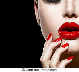 손톱, 구성, 입술, 매니큐어, 성적 매력이 있는, 빨강, closeup.