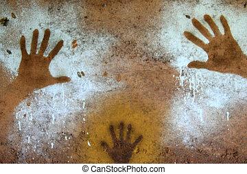손, 그림, -, 원주민, 락 예술, kakadu