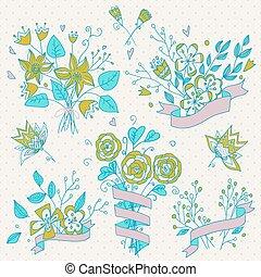 손, 그어진, 꽃 꽃다발, set., retro, flowers.