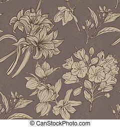 손, 그어진, 꽃, seamless, 패턴