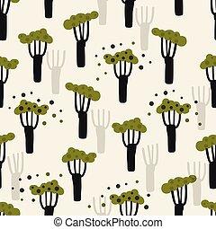 손, 나무, 녹색, 패턴, 끌기, 만화, 벡터, 배경, seamless, 숲